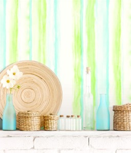 Vignette with green and blue watercolour stripe wallcovering