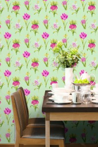 Dining room with green and red floral wallcovering