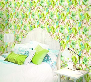 bedroom with aqua and green floral wallcovering
