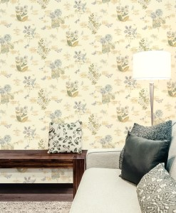 Living room with grey and beige floral toss wallcovering