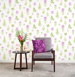 Vignette with green and pink floral and leaves wallcovering