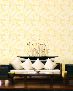 living room with large yellow palm leaves wallcovering